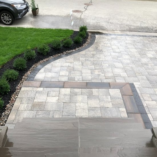 new interlocking driveway installed by Oaks Home Services.