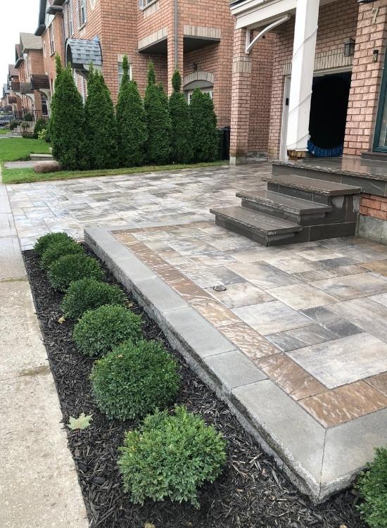 Interlock driveway and walkway - interlock repair project by Oaks Home Services.