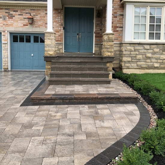 Home entryway with natural stone steps.