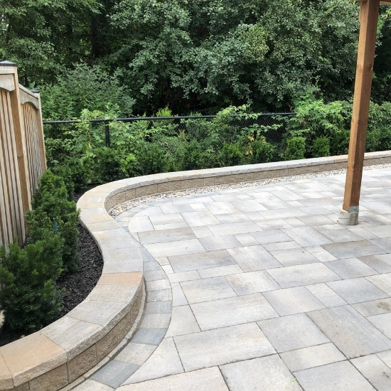Stone wall from a retaining wall project by Oaks.