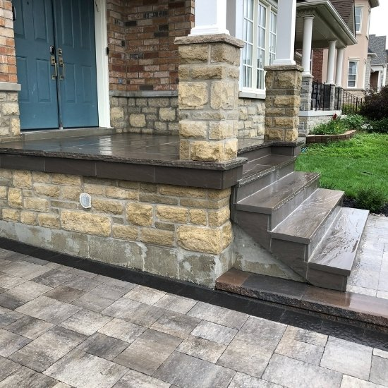 Stone front steps installation in Toronto home