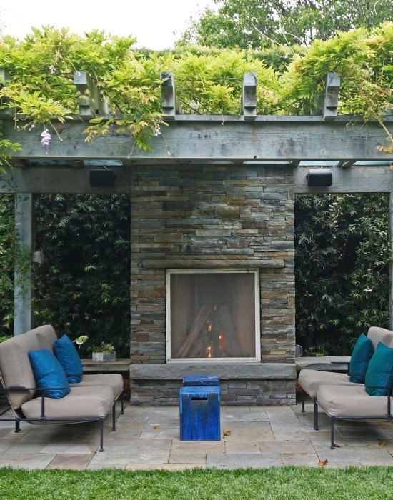 Backyard outdoor fireplace design and installation
