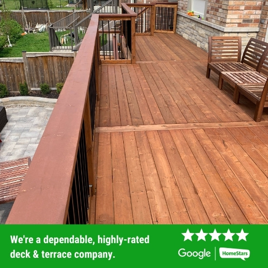 Wood deck installed by Oaks Home Services.