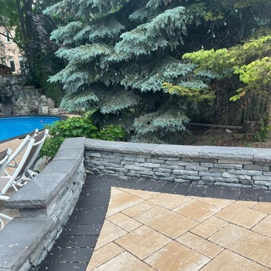 Backyard landscape design for a residential property.