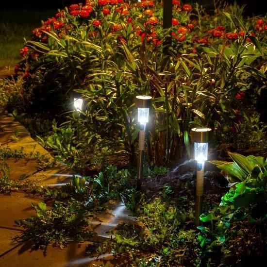 Landscape lighting installation in a garden.