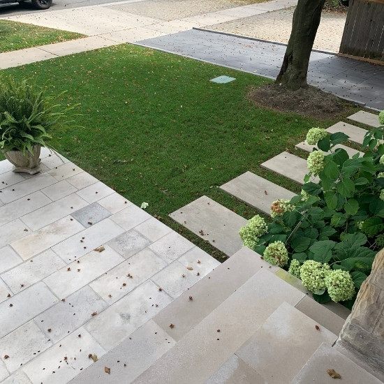 Residential landscape design for the front of a home.