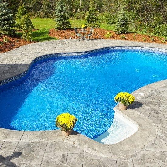 Outdoor swimming pool installation in backyard.