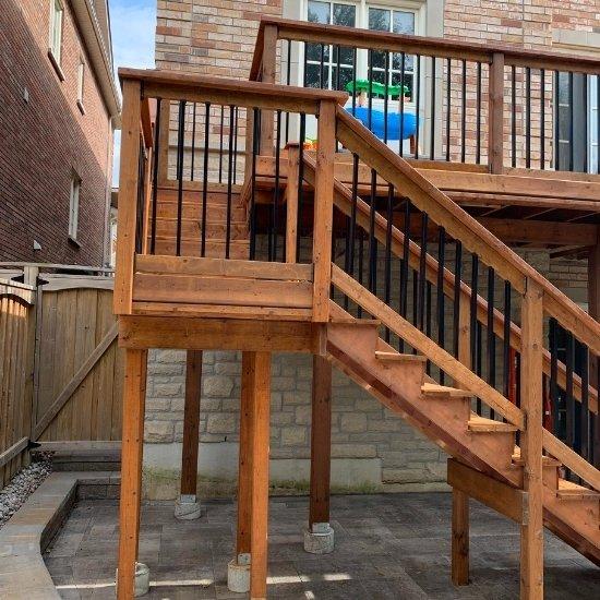 Wood deck in the backyard of a GTA home.